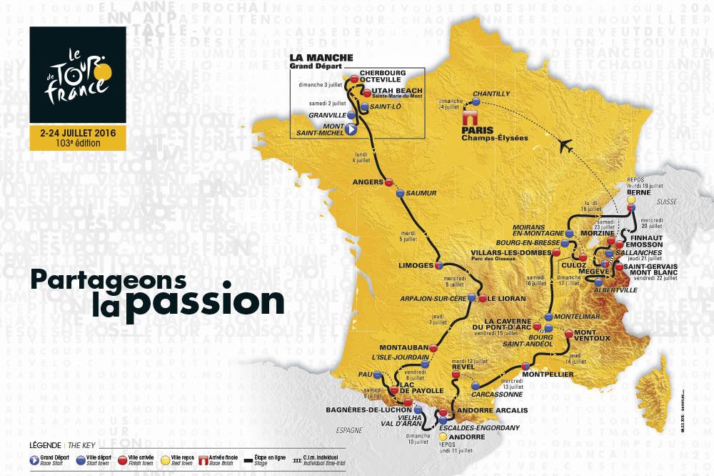 Carte du Tour de France 2016