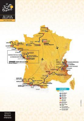 Carte du Tour de france 2018