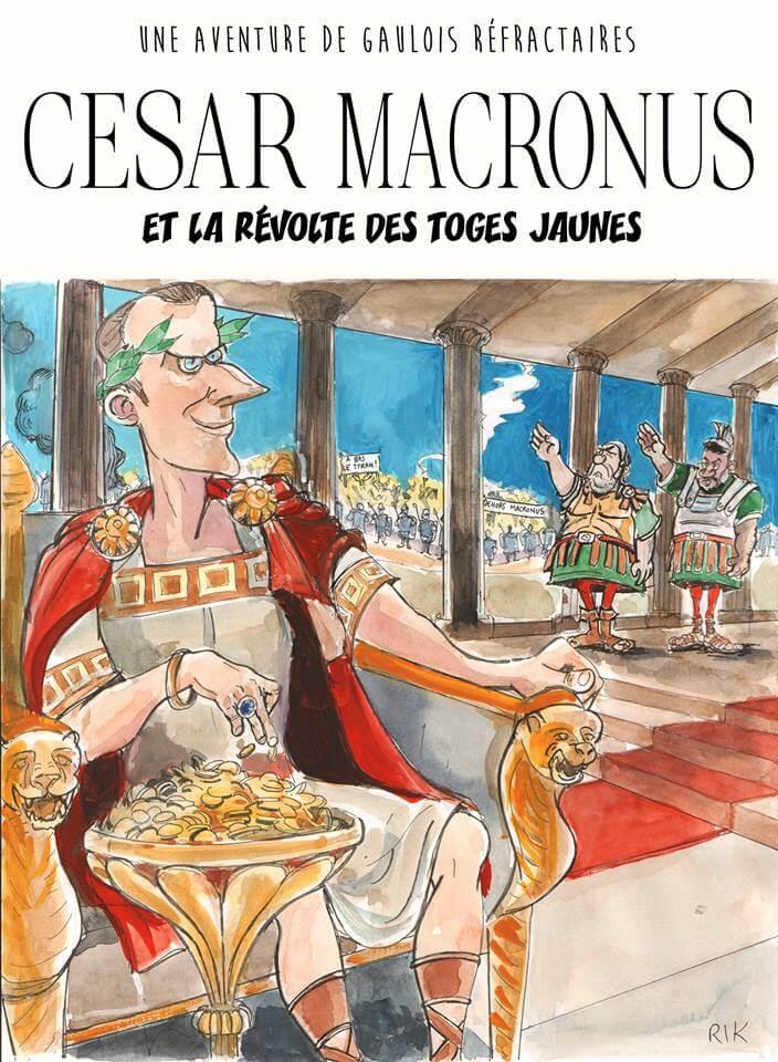 Cesar Macronus et la revolte des toges jaunes