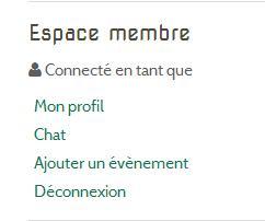 Connecté Espace membre