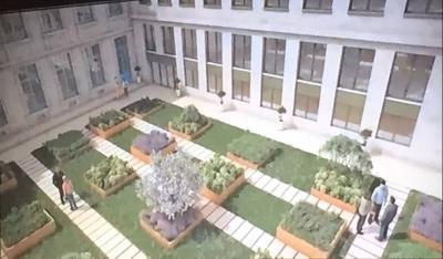 Cour interieure du nouvel immeuble en 2018 d'Europe 1 et du JDD