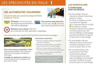 Notice Topeurop APRR - AREA en Italie