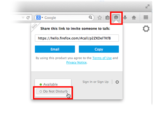 Panneau de contrôle de Firefox Hello