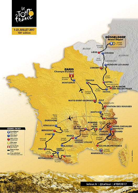Parcours du tour de france 2017