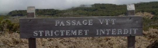 Passage de VTT interdit
