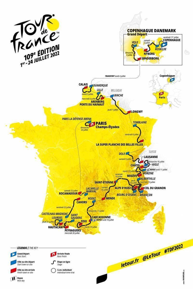 Carte parcours tour de france 2022