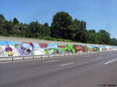 Fresque autoroute A43 AREA Lyon Chambéry - collectif Lyon bombing