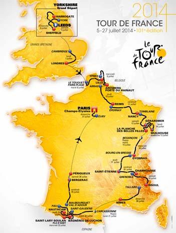 Tracé du tour de France 2014
